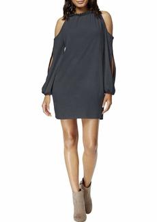 kensie Women's Stretch Suede Cold Shoulder Dress  M