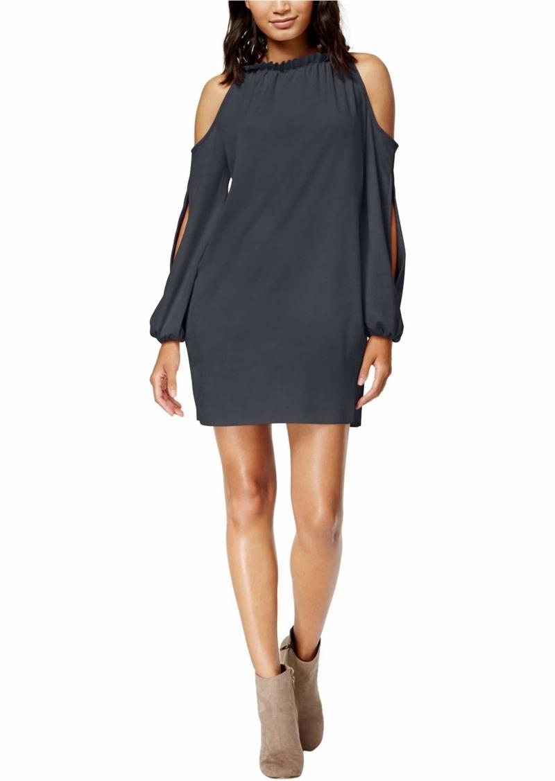 kensie Women's Stretch Suede Cold Shoulder Dress  S