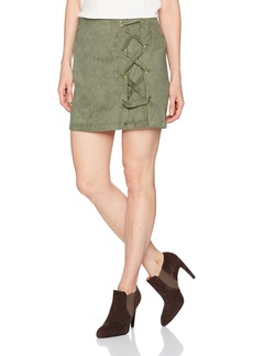 kensie Women's Stretch Suede Skirt with Lace Up Side  S