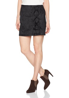 kensie Women's Stretch Suede Skirt with Lace Up Side  L