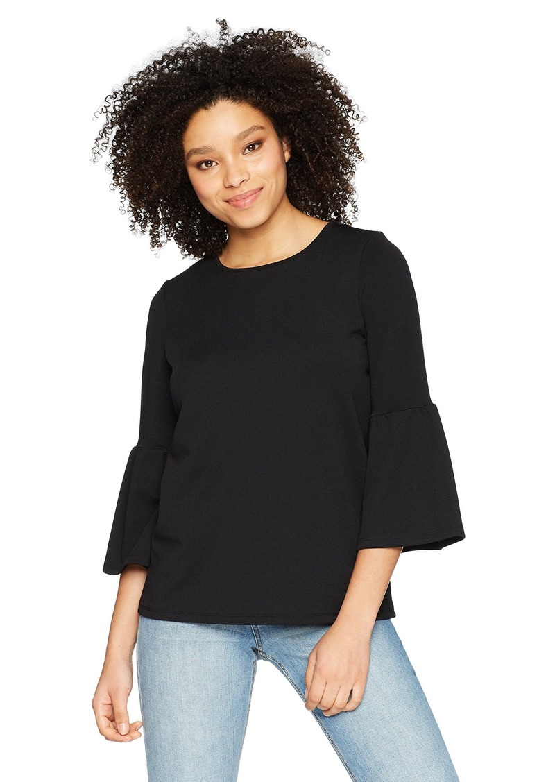 kensie Women's Stretchy Crepe Bell Sleeve Top  XL