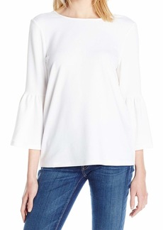 kensie Women's Stretchy Crepe Tees Top  M