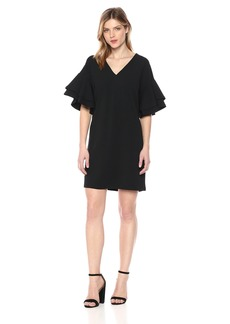 kensie Women's Stretchy Crepe Tiered Sleeve Dress  M