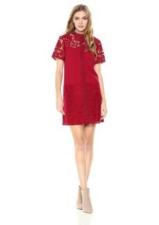 kensie Women's Striped Floral Lace Dress  L