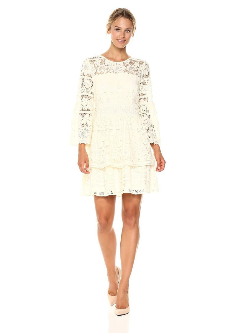 kensie Women's Striped Floral Lace Dress tusk M