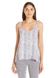 kensie Women's Striped Ruffle Tank Grey M