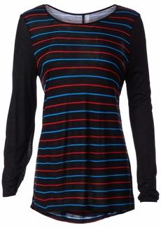 kensie Women's Striped Viscose Long Sleeve Top  M