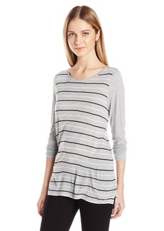 Kensie Women's Striped Viscose Long Sleeve Top  XS