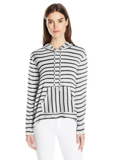 Kensie Women's Sweater Striped Hoodie  L