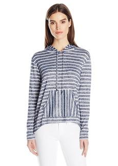 kensie Women's Sweater Striped Hoodie  L