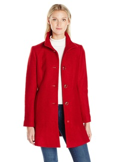 kensie Women's Stand Collar Button up Wool Skirted Coat-j9401  S