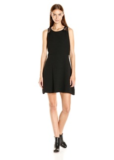 Kensie Women's Textured Dot Dress with Lace Detail  S