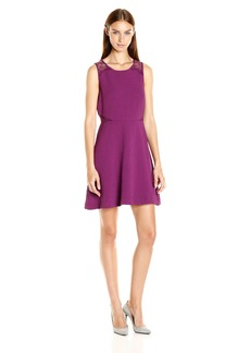 Kensie Women's Textured Dot Dress with Lace Detail  XS