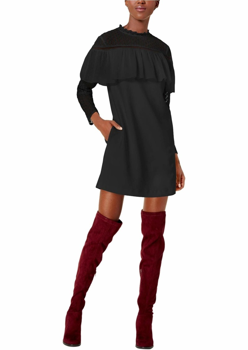 kensie Women's Thick Stretch Twill Dress Lace Sleeve and Popover  S