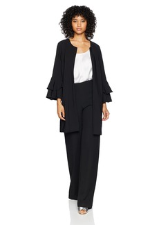 kensie Women's Thick Stretch Twill Jacket with Tier Bell Sleeve  M