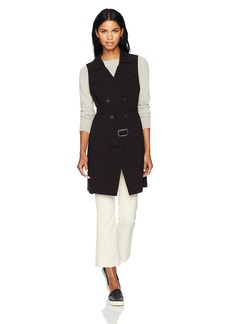 kensie Women's Thick Stretch Twill Longline Vest with Belt  XS
