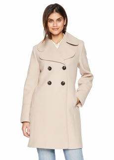kensie Women's Thigh Length Notched Lapel Trench Wool Coat  Extra Large