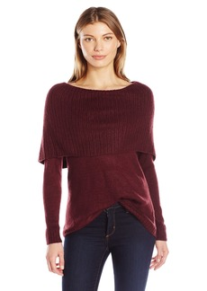 kensie Women's Tissue Knit Sweater with Cowl Neck  L
