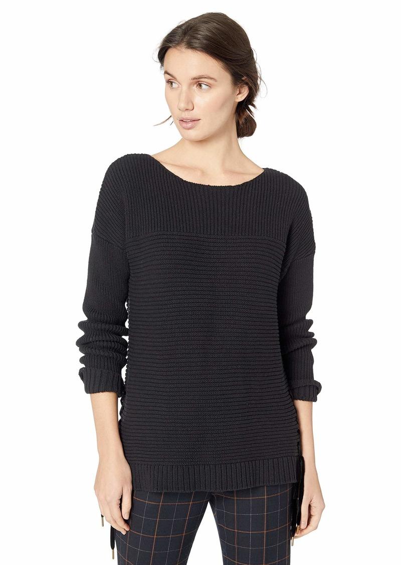 kensie Women's Tube Yarn Sweater with Velvet Ties  M