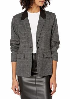 kensie Women's Tweed Plaid Colorblock Blazer Jacket