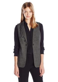 Kensie Women's Tweed Plaid Vest  L