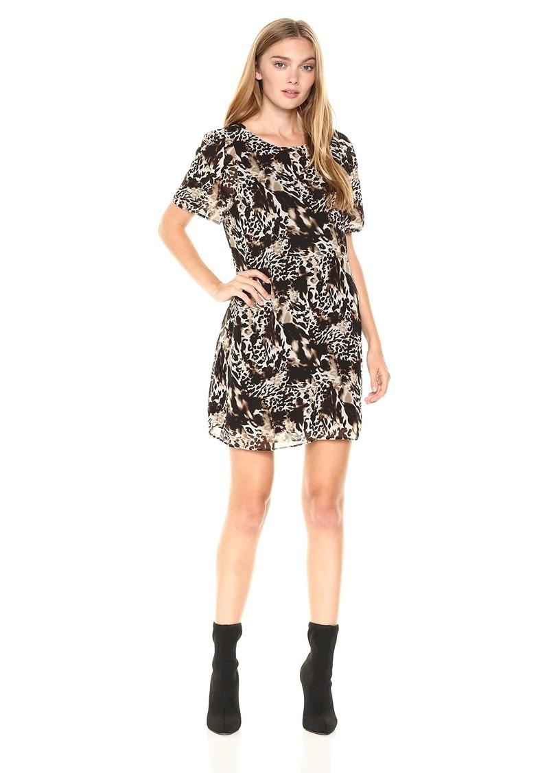 kensie Women's Twisted Animal Print Dress  M