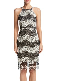 kensie Women's Two Tone Embroidered Lace Dress