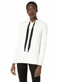 kensie Women's Viscose Blend Hooded Pearl Sweater  M