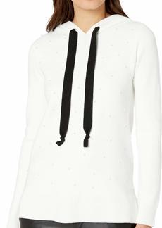 kensie Women's Viscose Blend Hooded Pearl Sweater  XL