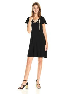 Kensie Women's Viscose Short Sleeve Dress with Lace up Neck  M