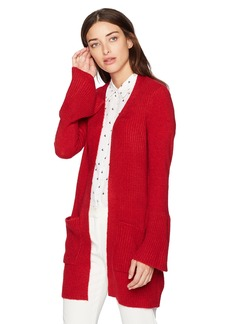 kensie Women's Warm Touch Open Cardigan with Bell Sleeve deep red XS