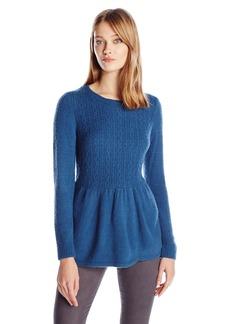 kensie Women's Warm Touch Sweater with Peplum  L