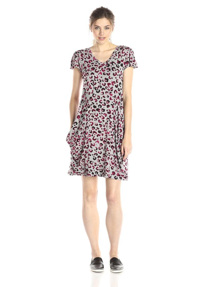 kensie Women's Watercolor Cheetah Pocket Dress