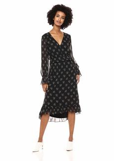 kensie Women's Whispering Shadows Ruffle Accent Dress  L