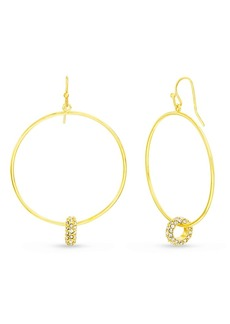 Kensie Women's White Rhinestone Interlocking Circle Dangle Hook Earrings