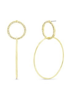 Kensie Women's White Rhinestone Interlocking Open Circle Drop Post Earrings