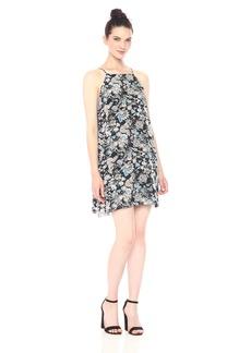 kensie Women's Wild Garden Floral Print Back Lace Detail Dress  L
