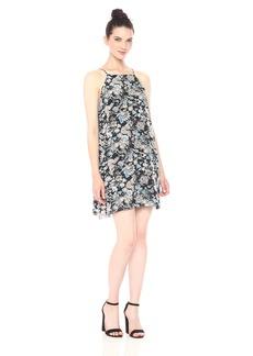 Kensie Women's Wild Garden Floral Print Back Lace Detail Dress  M
