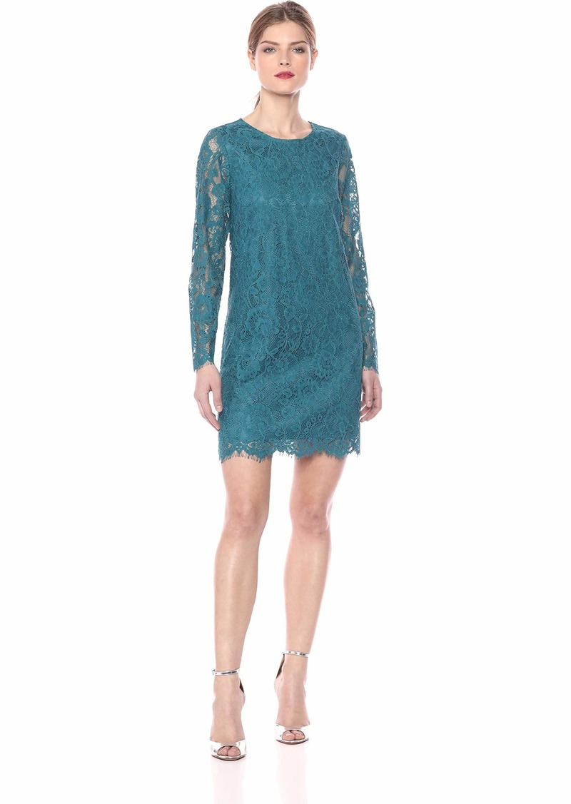 kensie Women's Winter Lace Long Sleeve Shift Dress  S