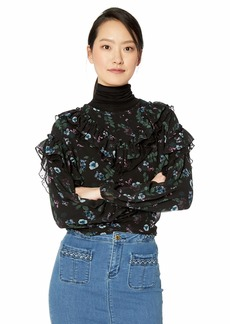 kensie Women's Winter Night Floral Ruffle Top  M