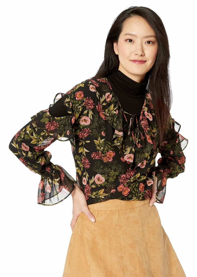 kensie Women's Winter Poppies Ruffle Accent Top with Sleeve Cutout  S