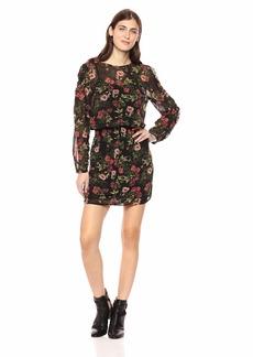 kensie Women's Winter Poppies Smocked Waist Dress  XL