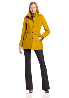 kensie Women's Wool Coat with High Neck and Hood