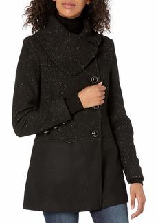 kensie Women's Wool Collar Coat with Gold Flecks