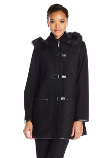 Kensie Women's Wool Duffle Coat with Faux Fur Trim