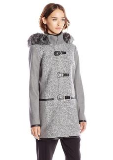 Kensie Women's Wool Duffle Coat with Faux Fur Trim