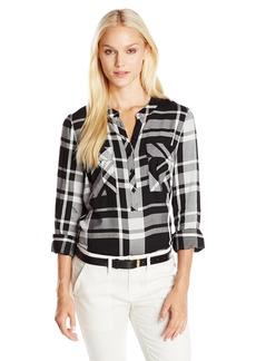 kensie Women's Yarn Dyed Plaid Shirt