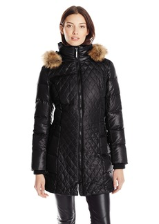 kensie Women's Quilted Down Coat with Detachable Faux-Fur Trimmed Hood