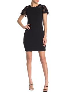 Kensie Lace Flutter Sleeve Crepe Sheath Dress