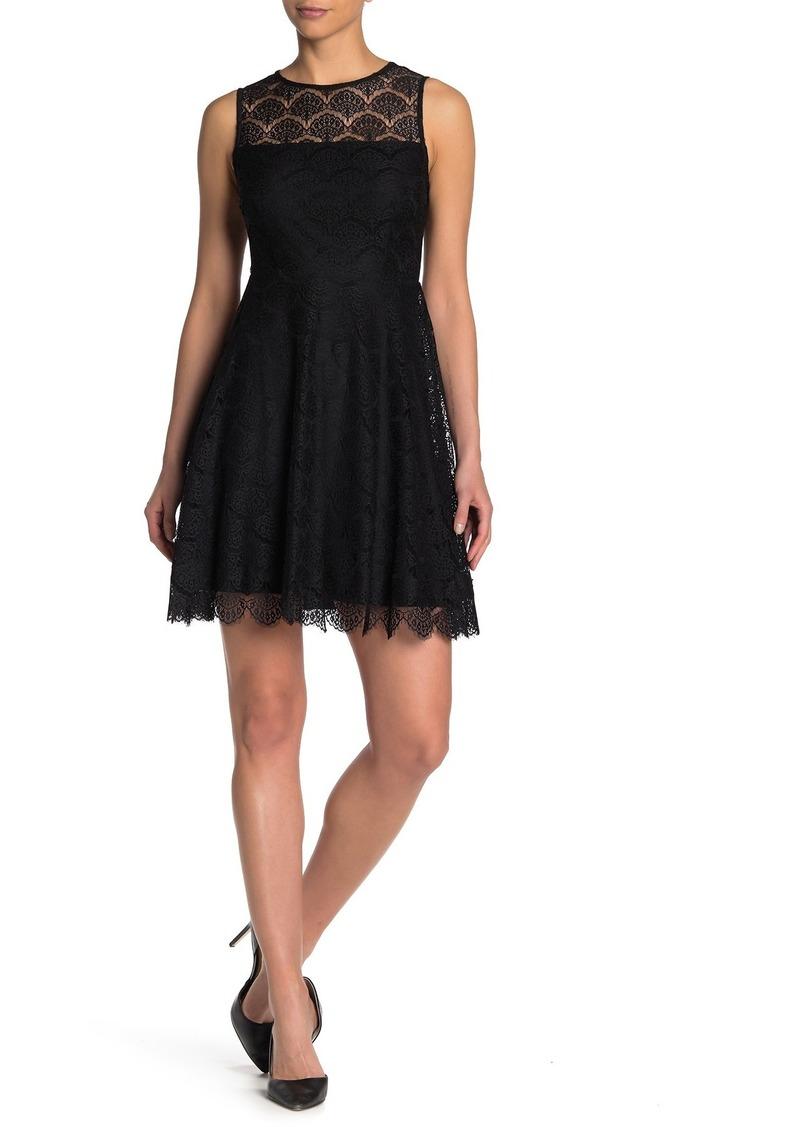 Kensie Lace Keyhole Fit & Flare Dress
